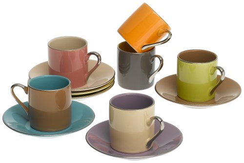 Yedi Houseware Classic Coffee and Tea Siena Espresso Cups and Saucers, Set of 6