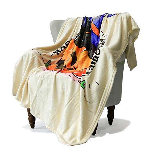 SimbaDeco Halloween Decorative Sofa Bedding Throw Blanket for Sofa Cartoon Black Cat in Big Pumpkin Wearing Wizard's Hat Blankets Soft Warm Flannel Plush Sherpa Fleece 50x70 Inch Ivory ()