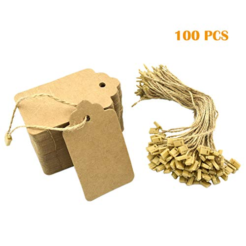 Firefly 100PCS Kraft Paper Tags, Gift Tags, Price Tags, Brown Rectangle Craft Hang Tags for Arts and Crafts, Wedding Christmas Day Thanksgiving and Holiday