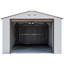 "DuraMAX Imperial Metal Garage, 12 x 26"", Off White with Brown"