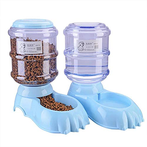Fairy Tale Automatic Pet Feeder Small&Medium Pets Automatic Food Feeder and Waterer Set 3.8L, Travel Supply Feeder and Water Dispenser for Dogs Cats Pets Animals(Blue) from Fairy Tale