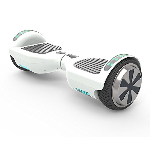 "41Jmc3gdfvL - Hoverboard 6.5"" UL 2272 Listed Two-Wheel Self Balancing Electric Scooter with Top LED Light And Bluetooth Speaker (Whte)"