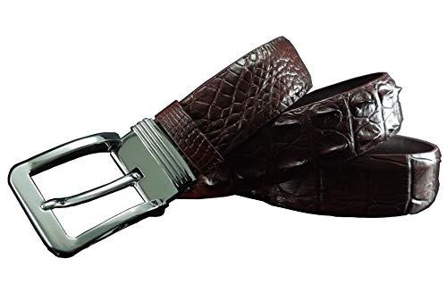 Genuine Glamorous Brown Hornback Crocodile Leather Skin Belts for Men ()