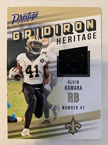 2019 Prestige NFL Gridiron Heritage Xtra Points Blue Jersey MEM #8 Alvin Kamara New Orleans Saints Official Panini Football Insert Trading Card from 2017 Prestige Football