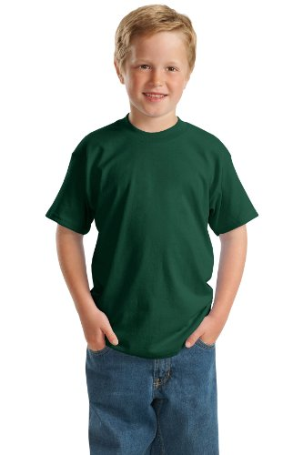 - Hanes 5.2 oz Youth COMFORTSOFT HEAVYWEIGHT 50/50 T-Shirt, XS-Deep Forest