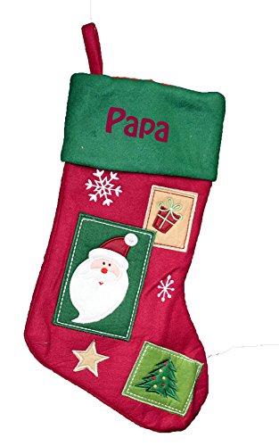 Chaussette de Noël à personnaliser style vintage Père Noël