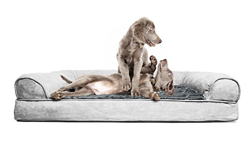 FurHaven Jumbo Plush & Suede Orthopedic Sofa Pet Bed for Dogs and Cats - Gray