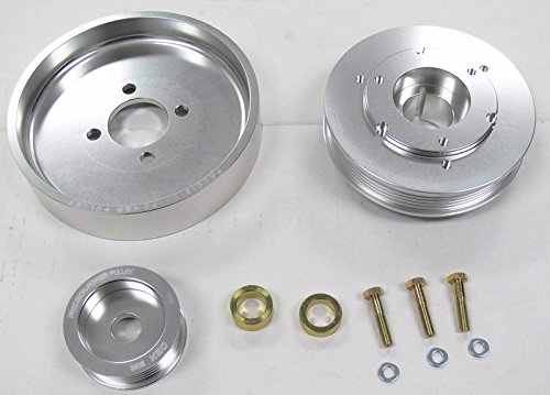 OBX Polish Silver Crank Water Alt Pulley Overdrive 01-04 Mustang GT 01-02 Cobra 4.6L (Mustang Gt Dyno)