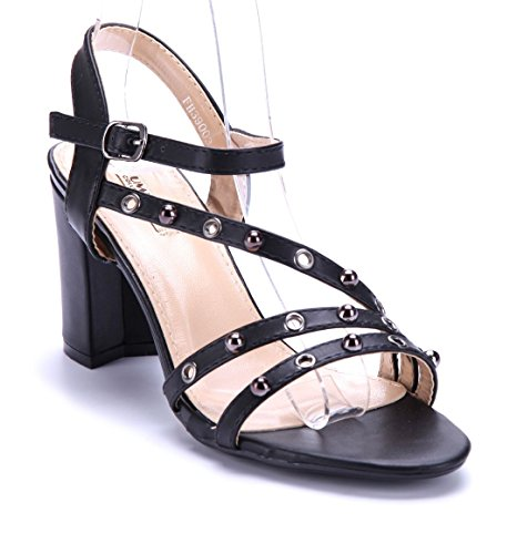 Schuhtempel24 Damen Schuhe Sandaletten Sandalen Stiletto Nieten 9 cm Schwarz