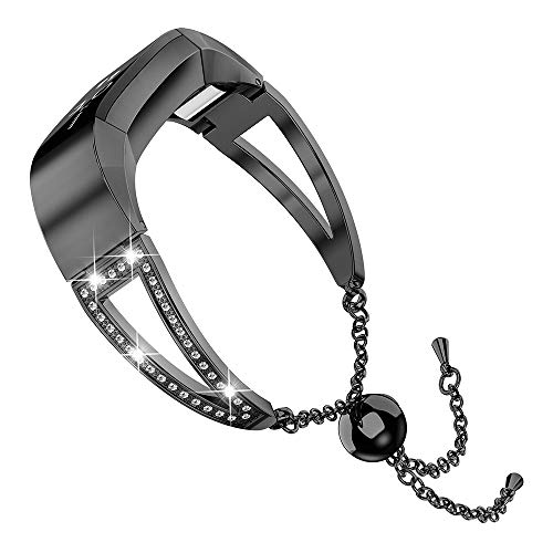 Wearlizer Compatible with Alta and Alta hr Bands for Women Bracelet Metal Silver Rose Gold Black Pink Metal Replacement Wrist Band Accessories Straps Bangle (Black)