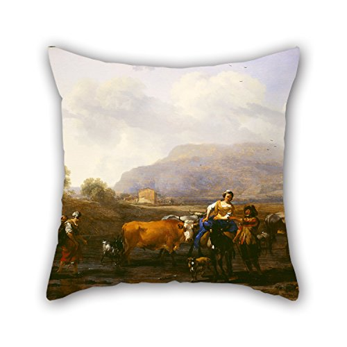Sofa Sectional Asian (Oil Painting Berchem, Nicolaes Pietersz - Travelling Peasants (Le Soir) Throw Pillow Covers 18 X 18 Inches / 45 By 45 Cm Best Choice For Seat,bedroom,study Room,club,kids,gril Friend With Twin Sides)