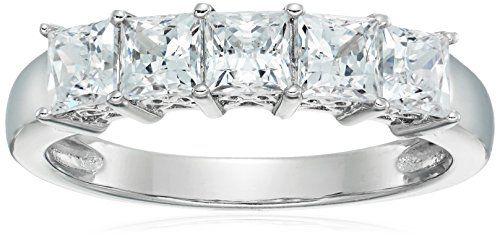 Platinum-Plated Sterling Silver Princess-Cut 5-Stone Ring made with Swarovski Zirconia (2 cttw), Size 8