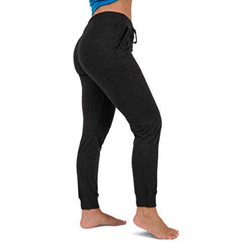 Sexy Basics Women's 2 Pack Yoga Activewear Jogger Capri Cropped Sweat Lounge Pants (2 Pack- Navy/Charcoal, Large) by Sexy Basics (Image #1)