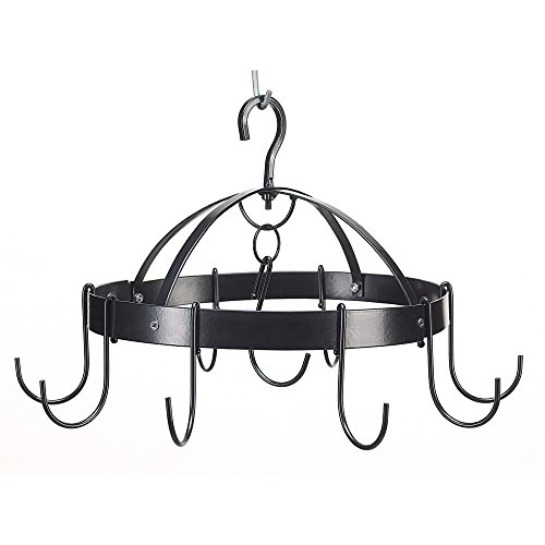 Mini Round Pot Hanger - Pot And Pan Hanging Rack, Hanging Pot Rack Black, Overhead Mini Round Pot Hanger