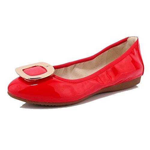 VogueZone009 Damen Lackleder Rund Zehe Ohne Absatz Ziehen auf Rein Flache Schuhe Rot