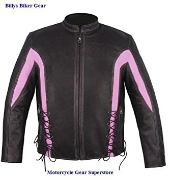 Amazon.com: Womens Black and Pink Leather Motorcycle Jackets (Size ...