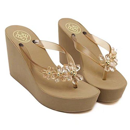 ANBOVER Womens Floral Gem Sandals Wedge Chunky High Platform Flip Flops Golden 11SE44Yz