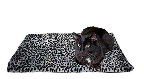 """Thermal Cat Pet Dog Warming Bed Mat - GREY, (Leopard Motif) 22"""" L x 19"""" W, by Downtown Pet Supply from Downtown Pet Supply"""