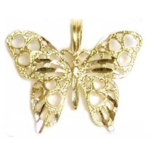 (14K Yellow Gold Charm Butterfly Pendant Jewelry 17mm)