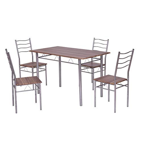 Giantex Modern 5 Piece Dining Table Set with 4 Chairs Metal Frame Wood Like Kitchen Furniture Rectangular Table & Chair Sets for Dining Room (Shallow Walnut) by Giantex (Image #3)