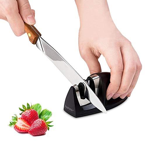 Manuelle Messerschärfer, 2 Stufen Messerschleifer- Wolframstahl für den Vorschliff und Keramikstein für Feinschliff