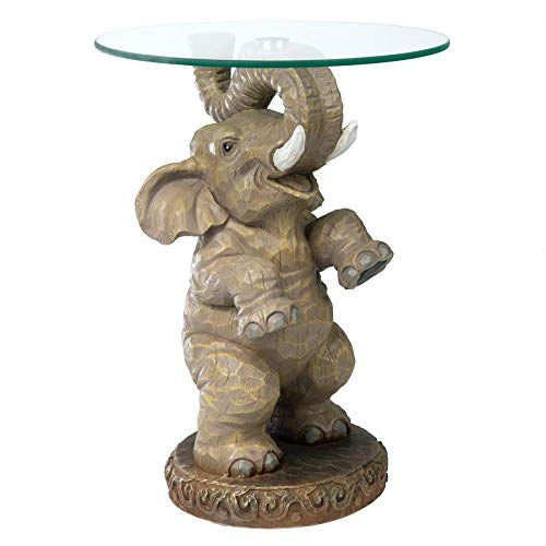 Design Toscano Good Fortune Elephant African Decor Glass Topped Side Table, 21 Inch, Polyresin, Full Color -