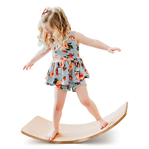 funny supply Wooden Balance Board Wobbel Balance Board Kid Yoga Board Curvy Board - Wooden Rocker Board Classic Natural Wood Style