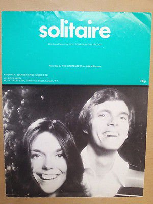 - song sheet SOLITAIRE The Carpenters 1972