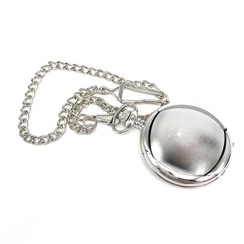 Silver Finish Pocket Watch, Chain and Box, free backup battery for Groom, Best Man, Parents, Wedding, Birthday by Cheeky Chic