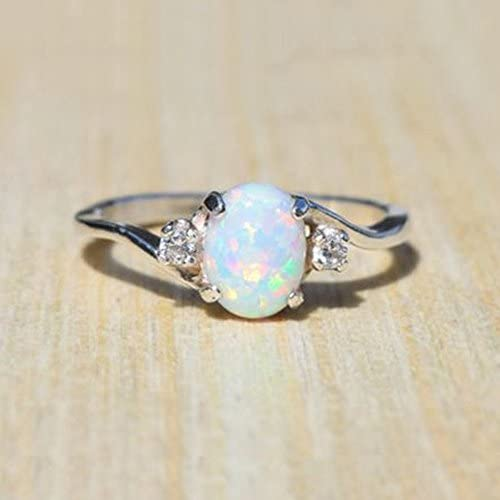 Xinantime Exquisite Women Sterling Silver Ring Oval Cut Opal Diamond Jewelry