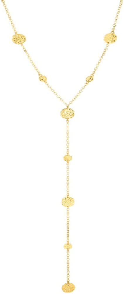 14k Yellow Gold Flat Bead Station ed Lariet Necklace with Spring Ring Clasp
