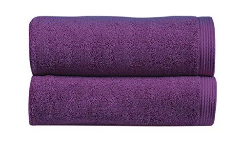 Sorema New Plus - Set de 3 toallas, de algodón peinado, (30 x 50 cm, 50 x 100 cm, 70 x 140 cm), color violeta: Amazon.es: Hogar