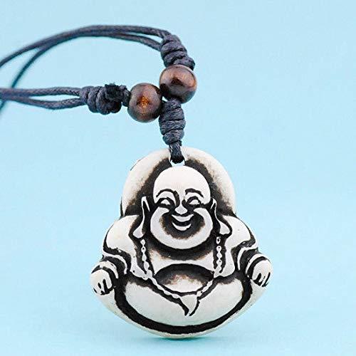Buddhist Buddha Maitreya Yak Bone Pendant Necklace Amulet