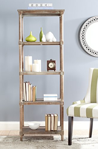 (Safavieh American Homes Collection Odessa Washed Pine 5 Tier Bookcase)