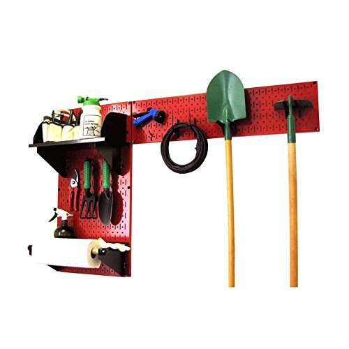Wall Control 30-GRD-200 RB Pegboard Garden Supplies Storage and Organization Garden Tool Organizer Kit with Red Pegboard and Black Accessories