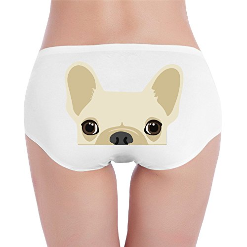 PRETY Funny French Bulldog Print Sexy Fashion Underwear White X-Large For Women And Girls