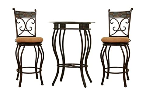 Boraam 83416 Beau Metal Counter Height 3-Piece Pub Set, 36-Inch, Black/Gold - Standard Height Cherry