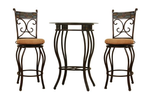 Bronze Pub Table - Boraam 83416 Beau Metal Counter Height 3-Piece Pub Set, 36-Inch, Black/Gold
