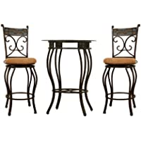 Boraam 83416 Beau Metal Counter Height 3-Piece Pub Set, 36-Inch, Black/Gold