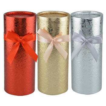 Round Foil-Wrapped WINE Gift Boxes with Slide-on Lids, 8¼