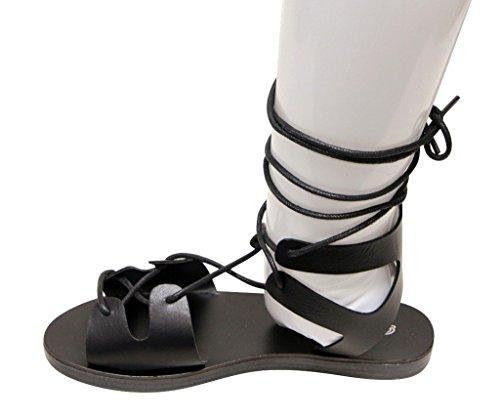 Breckelles Tess-08 Mujeres Dorsay Flat Open Toe Sandalias De Correa De Tobillo Glee Tie Negro