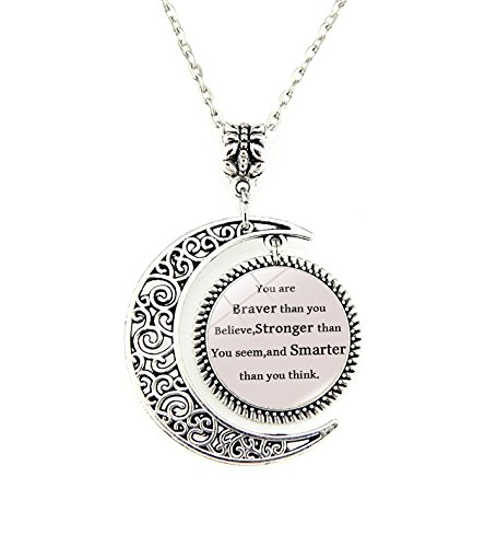 You are braver than you believe stronger than you seem and smarter than you thinkInspirational Moon Pendant Necklace For Women Girls