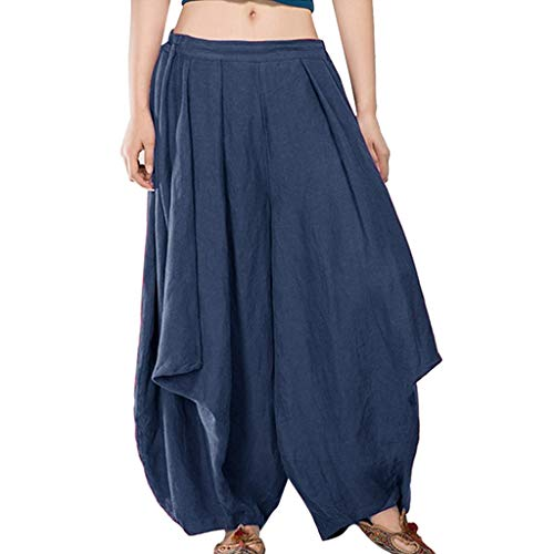 Flare Pants Women Cotton Linen Solid Pants Casual Harem Loose Elastic Waist Pants Long Streetwear Pants nikunLONG Navy