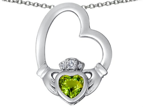 Star K Floating Heart Irish Claddagh Pendant Necklace with Heart-Shape Simulated Peridot and Cubic Zirconia
