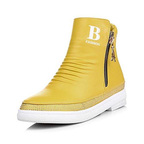 AgooLar Damen Reißverschluss Weiches Material Niedriger Absatz Rund Zehe Stiefel Gelb