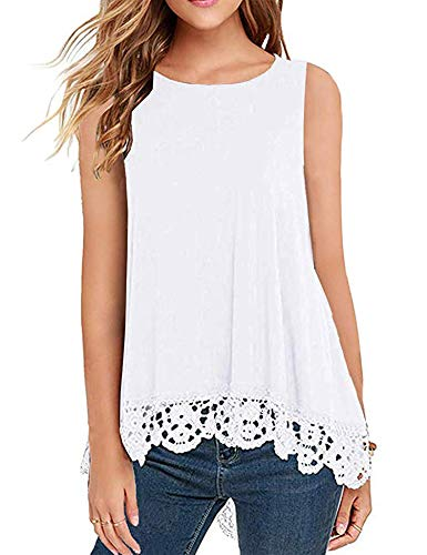 DOSWODE Womens Tops Sleeveless Lace Trim O-Neck A-Line Tunic Blouse Shirts White XXL