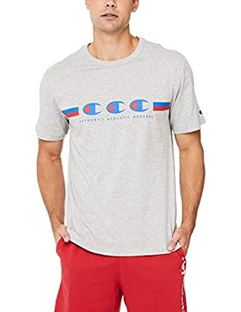 Champion Men's Sports Stripe Tee, Oxford Heather, Small