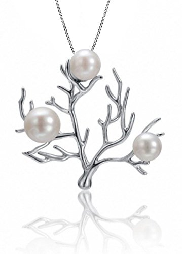 Sterling Silver Freshwater Pearl Coral Tree Necklace Pendant with 18