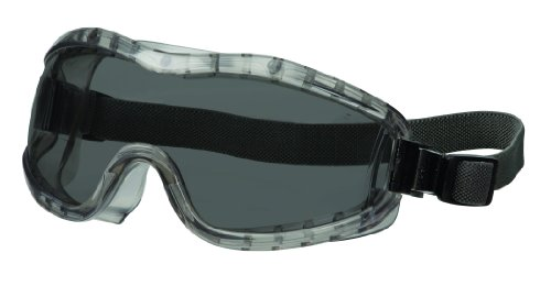 MCR Safety 2322AF Stryker Adjustable Polyvinyl Elastic Strap Stylish Goggle with Smoke Frame and Gray Anti-Fog - Which Fit Face Frames My
