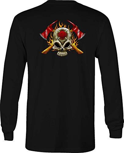 Fire Fighter Long Sleeve T Shirt Men Maltese Cross Graphic Tee - XL Black